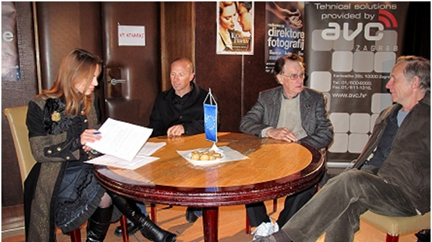 On photo: Preparing for the introduction lecture. From left to the right: interpreter, Marta Cerovecki, Mr. Paolo Cascio, Mr. Bill Butler and Mr. Oliver Stapleton